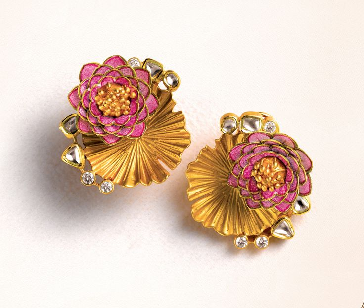 Zoya lotus earrings in yellow gold with pink enamel and polki diamonds