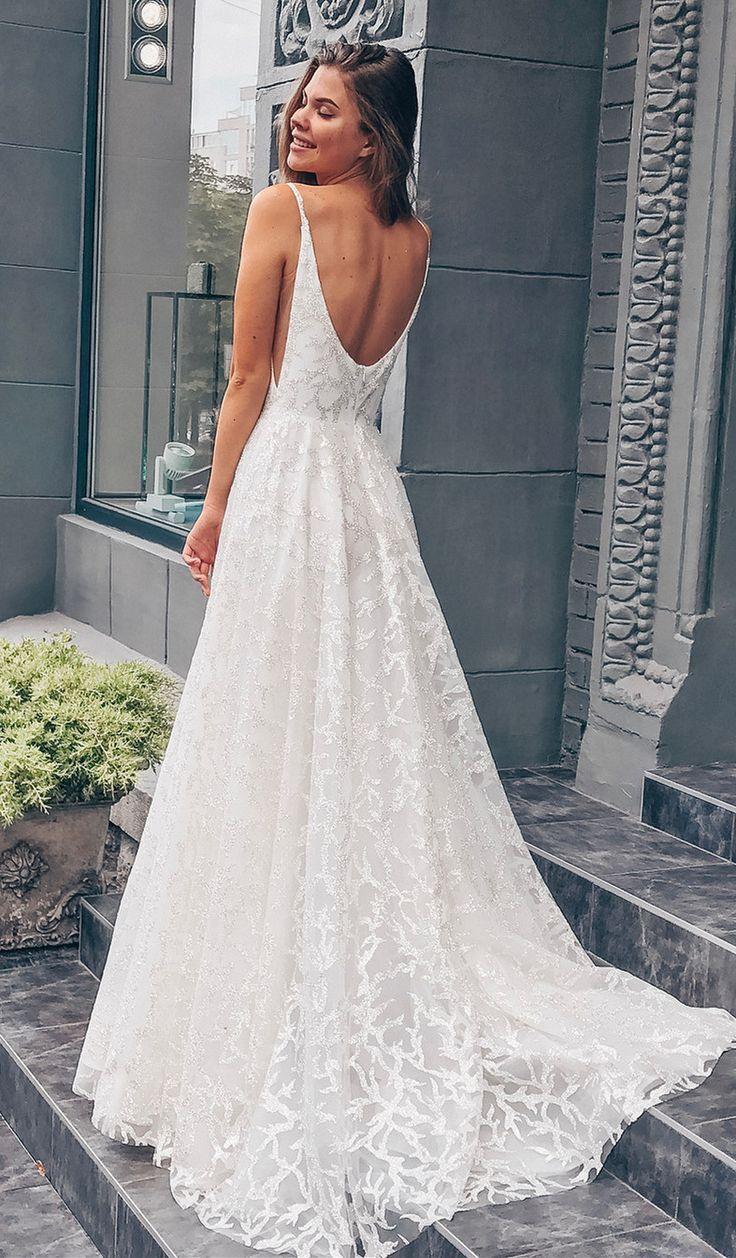 19ff7b2a563c14 Princess White Long Wedding Dress with Train