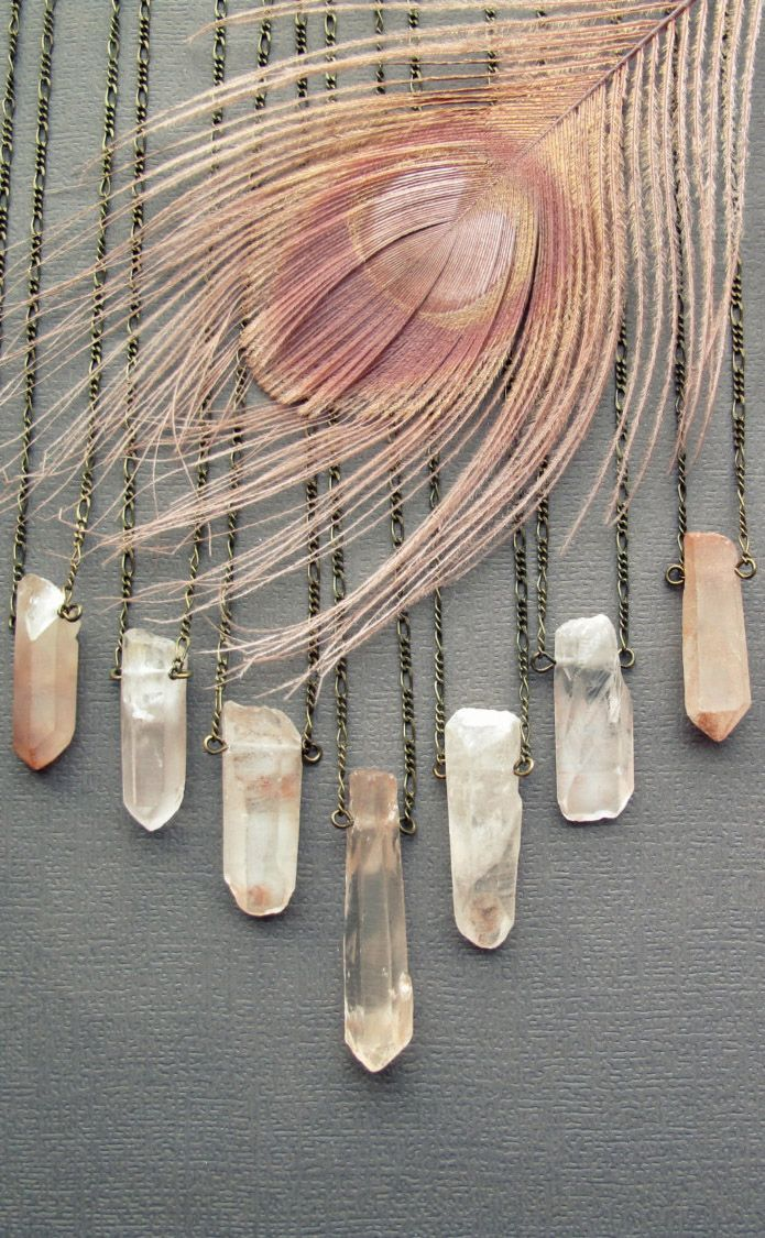 Rose Quartz Necklace - Raw Crystal Necklace - Healing Crystal Pendant - Rose Quartz Jewelry - Raw Rose Quartz Pendant- Long Crystal Necklace