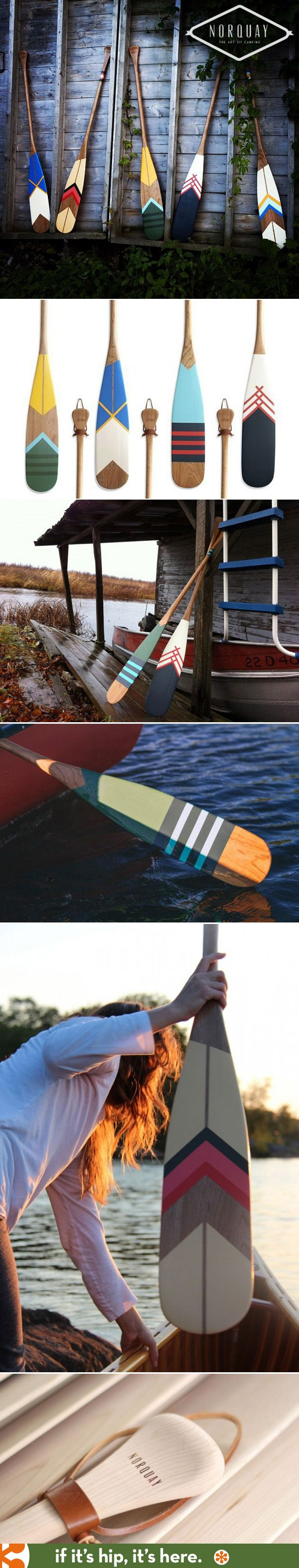 Hand-painted Artisan Canoe Paddles from Norquay Co. are both decorative and functional.