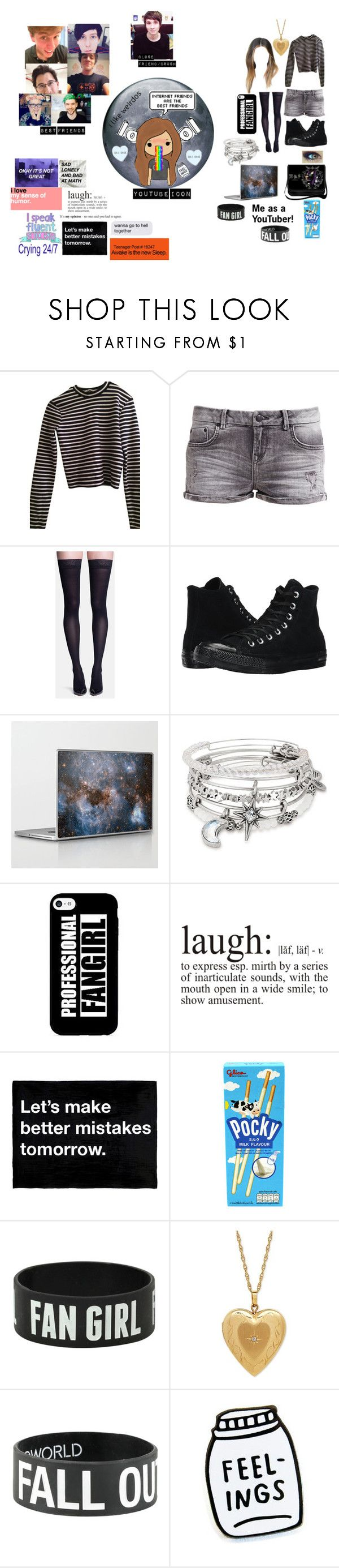 """""""Me as a YouTuber!"""" by i-love-cake3 ❤ liked on Polyvore featuring T By Alexander Wang, LTB, Sigvaris, Converse, Alex and Ani, GET LOST, WALL, Sanders, Hot Topic and Oakley"""