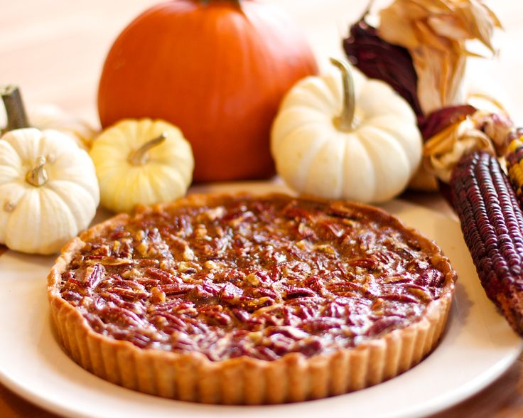 We use our house-made pie crust and fill it with pecans. The pecans float to the top, creating a crunchy top to this delicious thanksgiving pie.