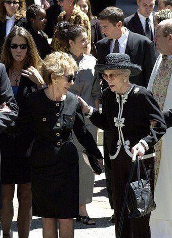 Nancy Reagan & Jane Wyman at Maureen Reagan's funeral in 2001