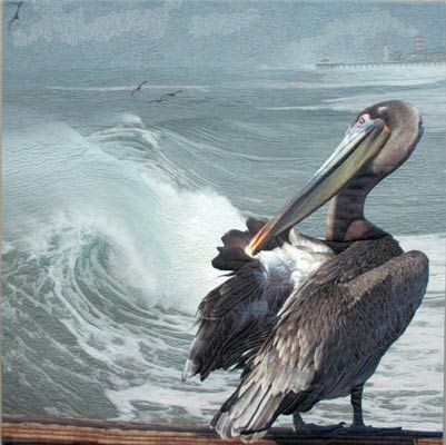 Landscape art quilt with preening pelican against the background of the huge waves before a wintere storm in Hermosa Beach, CA by Barbara Barrick McKie