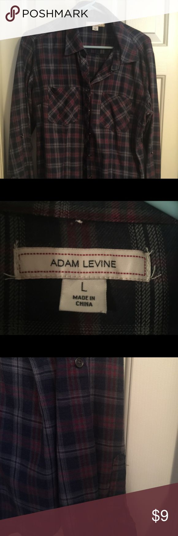 Adam Levine Flannel Style Shirt Women's Size Large Adam Levine Flannel Style Shirt Navy and reddish pink plaid only worn once Adam Levine Tops Button Down Shirts