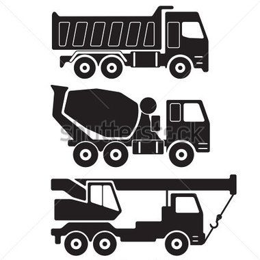 construction vehicles clipart black and white - Google Search