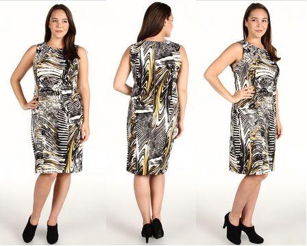 Calvin Klein Plus Size Autumn Print Ponte Shift Dress