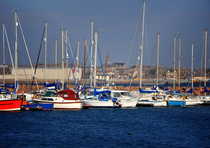 Peterhead yachting marina looking toward the centre of the North East Scottish town.