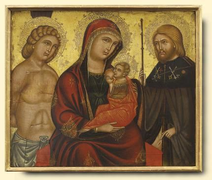 Virgin and Child with St.s Sebastian and Peter - exhibited at the Temple Gallery, specialists in Russian icons