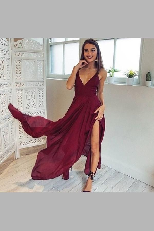 679617f10649 Hot Sale Luscious V Neck Prom Dresses, Sleeveless Prom Dresses, Chiffon Prom  Dresses,