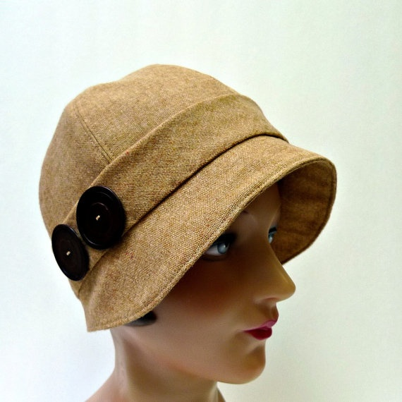 86645595 Cloche Hat in Vintage Camel Wool with Brown Buttons - Size L | hats | Hats, Cloche  hat, Wool