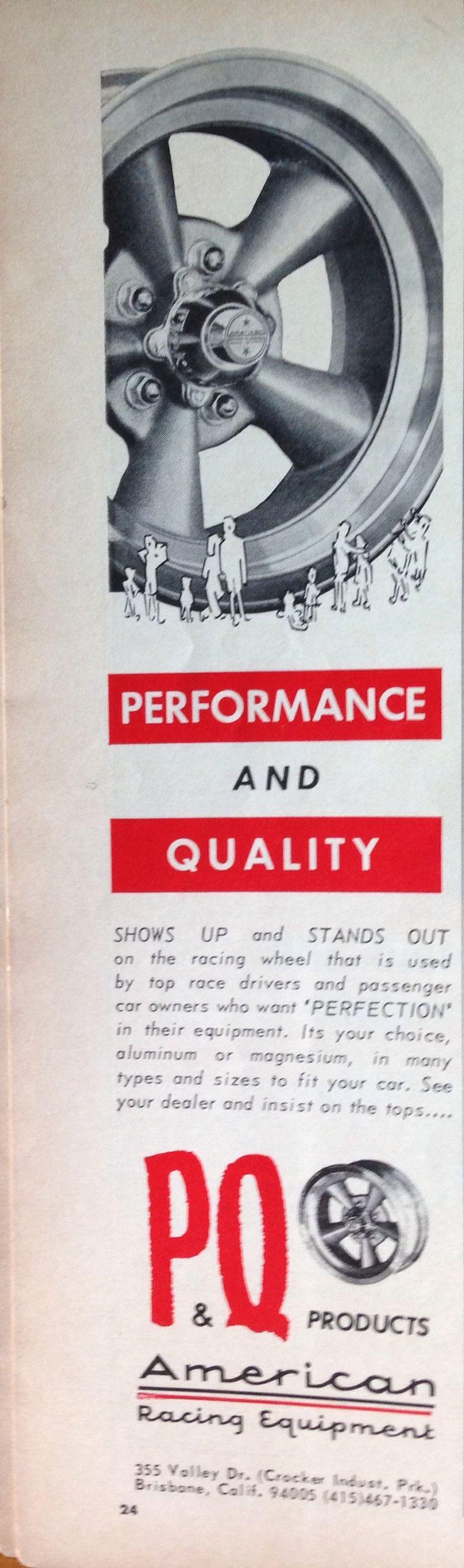 American Racing Wheels P&Q Equipment advertisement from 1967