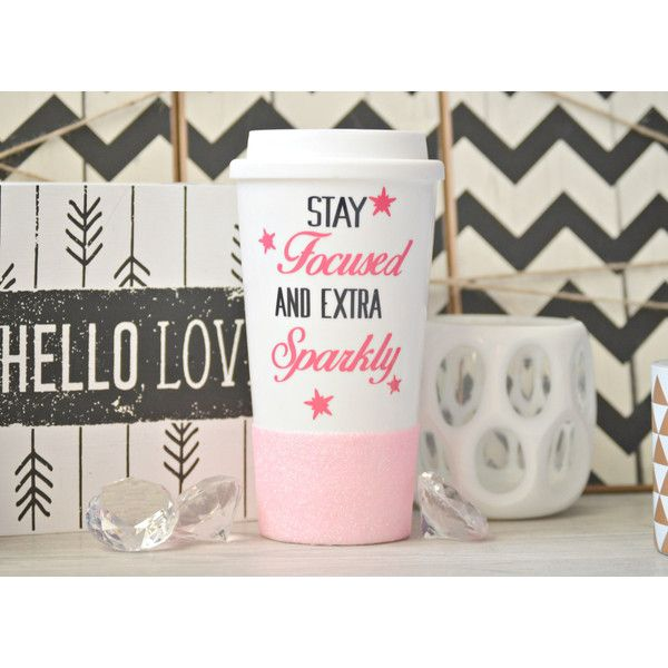 Sparkle Mug Custom Glitter Mug Coffee Lover Gift Glitter Travel Mug... ($20) ❤ liked on Polyvore featuring home, kitchen & dining, drinkware, drink & barware, home & living, mugs, yellow, coffee tumbler, travel coffee cup and bpa free tumbler