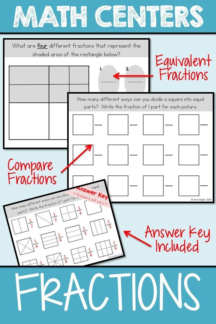 3rd And 4th Grade Math Center Compare Fractions Engage Your Students With This Hands On Fraction Activity D Fractions Kindergarten Worksheets Math Centers