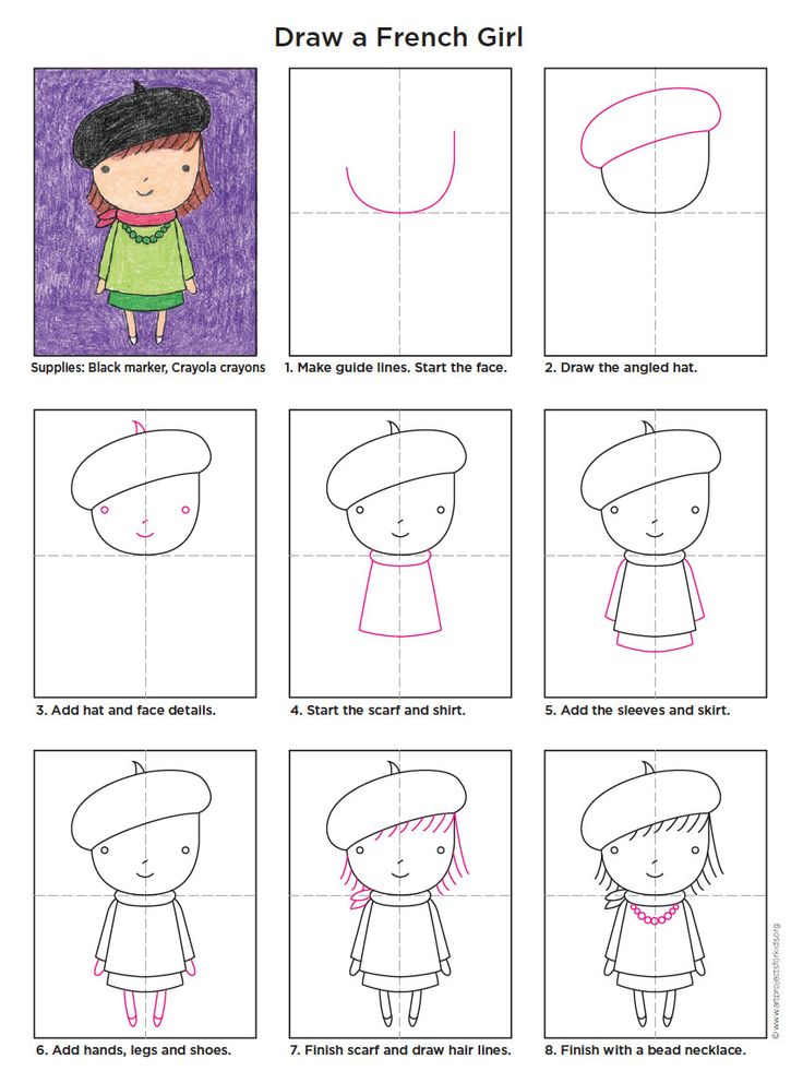 Learn how to draw a Little French Girl with my PDF Tutorial. #artprojectsforkids #howtodraw