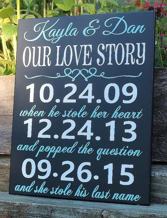 "Cute ""Our Love Story"" sign"