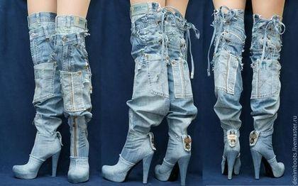 """Обувь ручной работы. Ботфорты-трансформеры """"Львица"""" джинсовые на платформе. Denim Boots (джинсовая обувь). Ярмарка Мастеров. Джинсовые сапоги"""