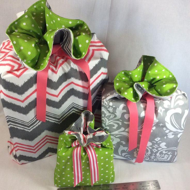 Reusable Gift Bags / Gray, Lime and Hot Pink / Gift Bags with Ribbon Tie / Fabric Gift Bag / Set of 3 / Favor Bags / Storage Bags by BagTagandBolt on Etsy