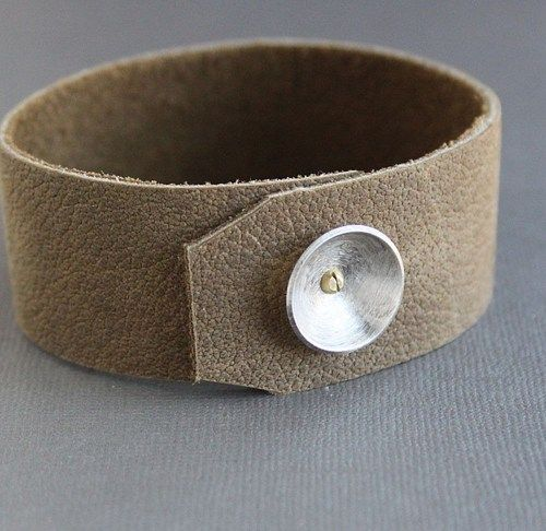 Mens+Suede+Leather+Silver+Cuff+Bracelet+Light+Brown