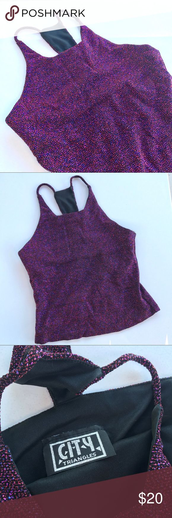 🖤 Vintage Super Sparkly Crop Top 🖤 Vintage Super Sparkly Glittery Crop Top in excellent condition!! Has a super cute unique neck line. Size Tag is removed but would be a good fit for a size small. Tops Crop Tops