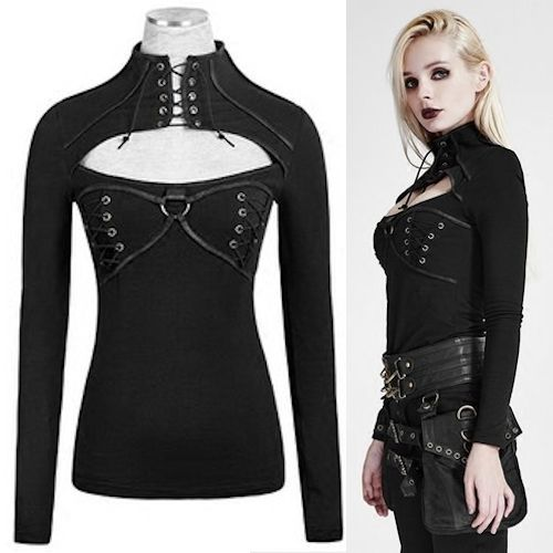 Sexy Black Long Sleeve Gothic Steam Punk Fashion Tops for Women SKU-11409385