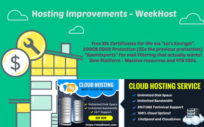"""Hosting Improvements - All services on the new platform will benefit from       Free SSL Certificates for life via """"Let's Encrypt"""".    500GB DDOS Protection (25x the previous protection).    """"SpamExperts"""" for mail filtering that actually works!    New Platform - Massive resources and 4TB SSDs.     As a result your hosting will now be faster, more stable and more secure. These features are already available on the new platform and will be deployed to the existing one as soon as practical…"""