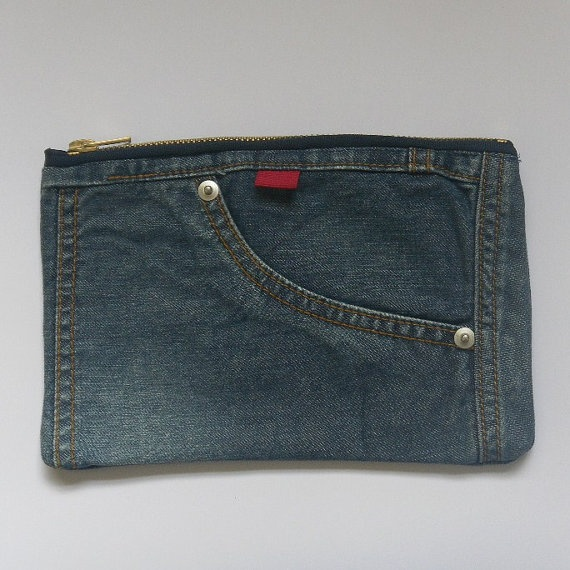 Recycled Denim Pencil Case by madeindenim on Etsy, £5.00