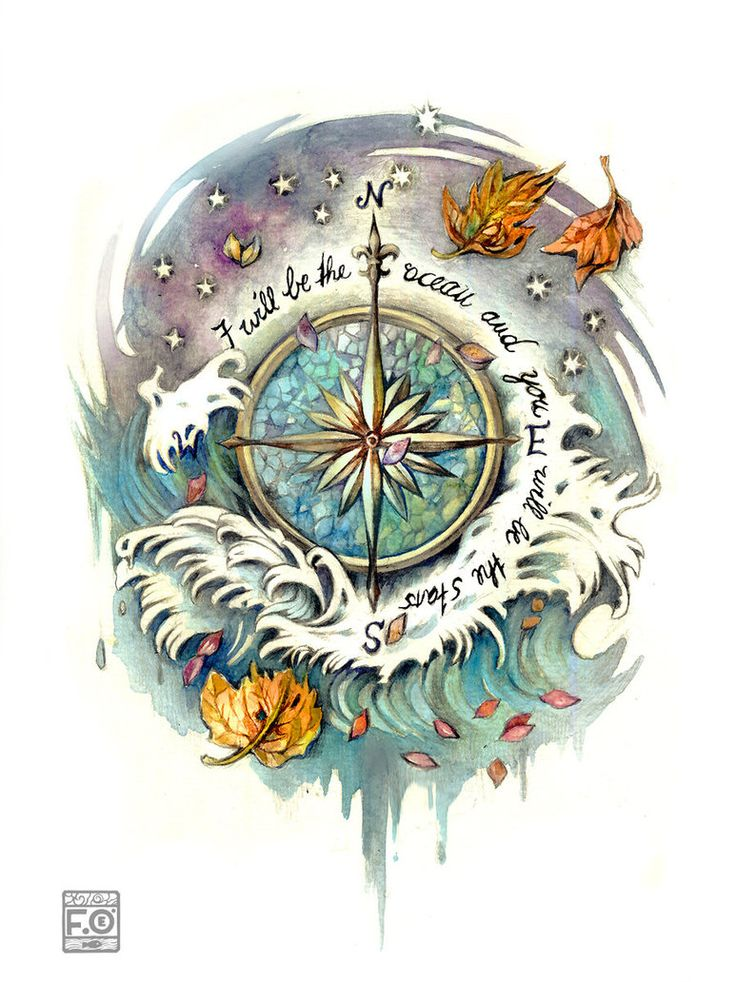 wind rose tattoo commission by *Asfahani on deviantART - love the waves, not big on the leaves or the quote.