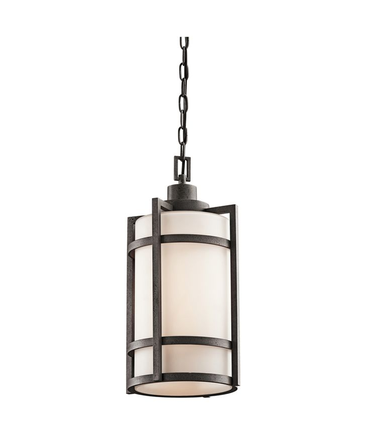 Camden outdoor pendant 1 light fluoresc shown in anvil iron by kichler lighting 49124avifl