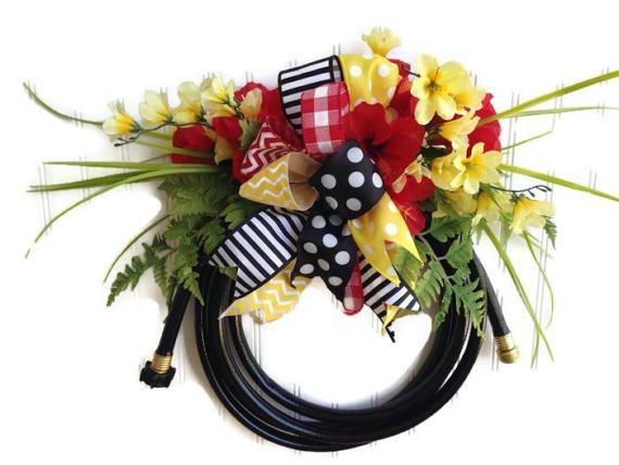 Garden hose wreathsummer waterhose wreath black by MadeForBri