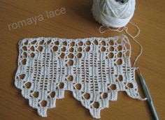 Handmade crochet lace  trim Cambrian border ecru by romayacrochet