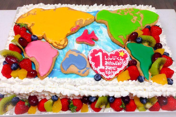 世界地図のケーキ