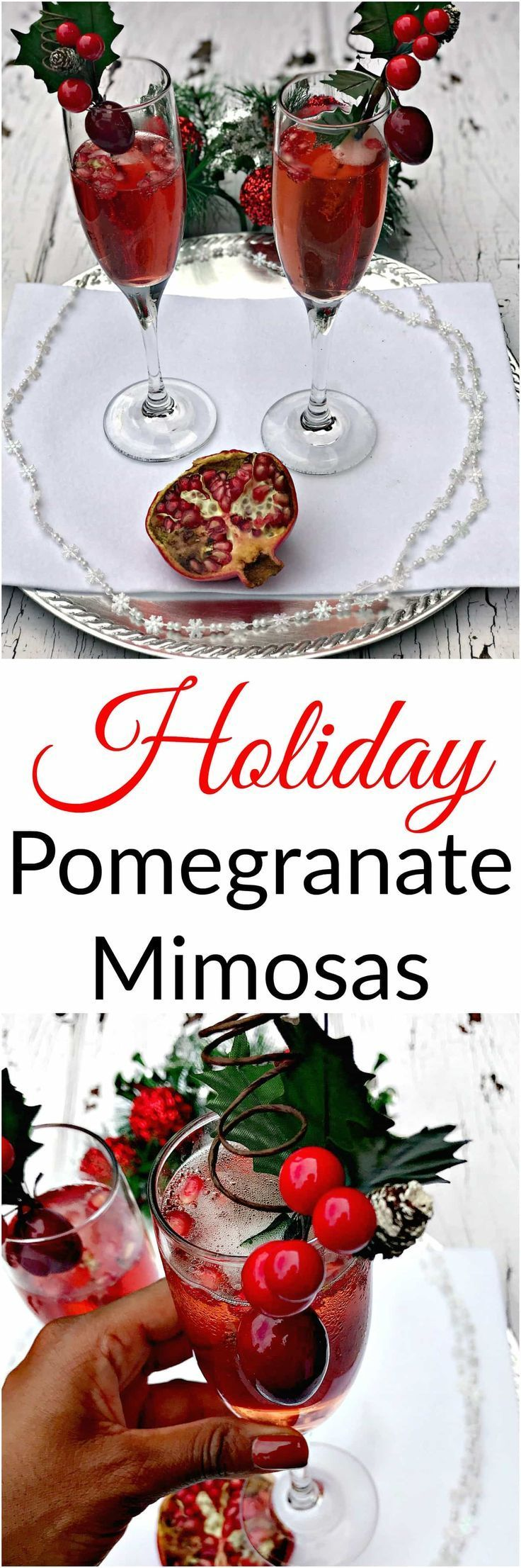 Pomegranate Holiday Mimosas are the perfect easy champagne cocktail for brunch, Thanksgiving, Christmas, New Years, parties, and events. #HolidayDrinks #HolidayCocktails #ThanksgivingDrinks #ChristmasDrinks #ChristmasCocktails #NYE #NYEDrinks #NewYearsCocktails