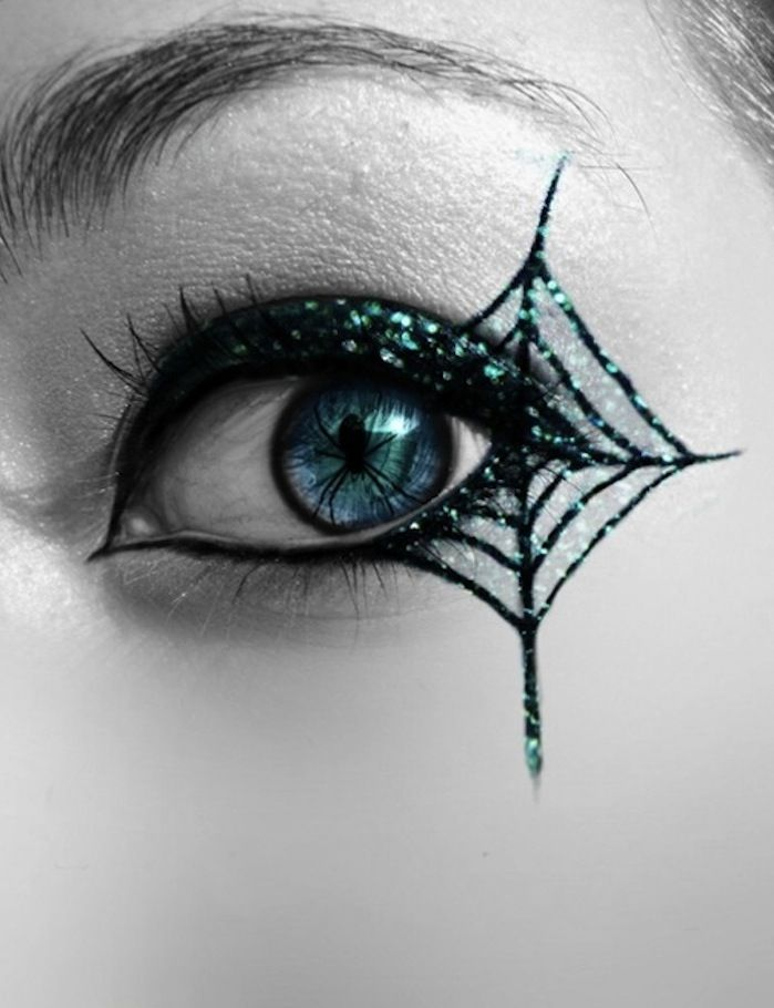 awedome makeup idea for spider costume. I need to resurrect that costume one year for a really good party.