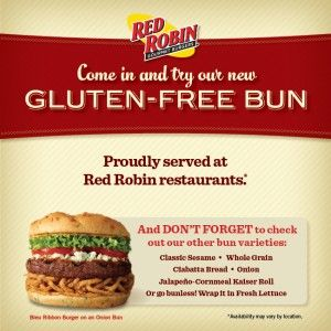Red Robin Gluten Free Menu which features burgers made with their new gluten free bun #delicious