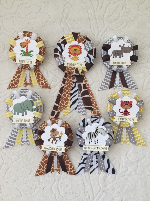 Family ribbon corsages for baby shower - jungle animals - gender neutral - lion, giraffe, zebra, monkey, elephant, tiger, rhino