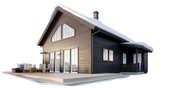Modernt fritidshus med loft som ger rymd och öppnar upp för härligt ljusinsläpp. Bygg ditt fjällhus med Hudikhus.