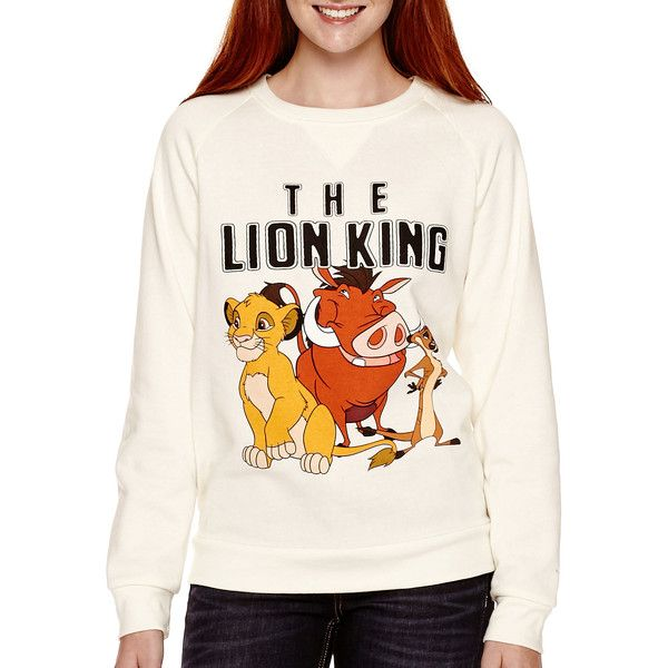 Disney Long-Sleeve Lion King Fleece Pullover ($18) ❤ liked on Polyvore featuring tops, sweaters, white pullover sweater, long sleeve pullover sweater, white pullover, graphic pullover and fleece sweater