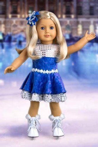 DreamWorld Collections Ice Dancer - Ice Skating Outfit Includes Blue Leotard with Double Blue and Silver Ruffle Skirt, Decorative Head Flower and White Skates - Clothing for 18 inch Dolls : Activewear Doll Clothes