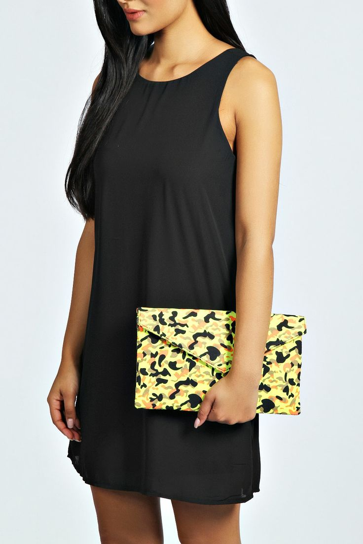 India Camouflage Print Envelope Clutch Bag