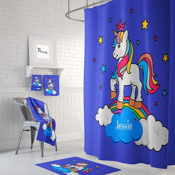 Personalized Unicorn Shower Curtain Curtains Shower Curtain