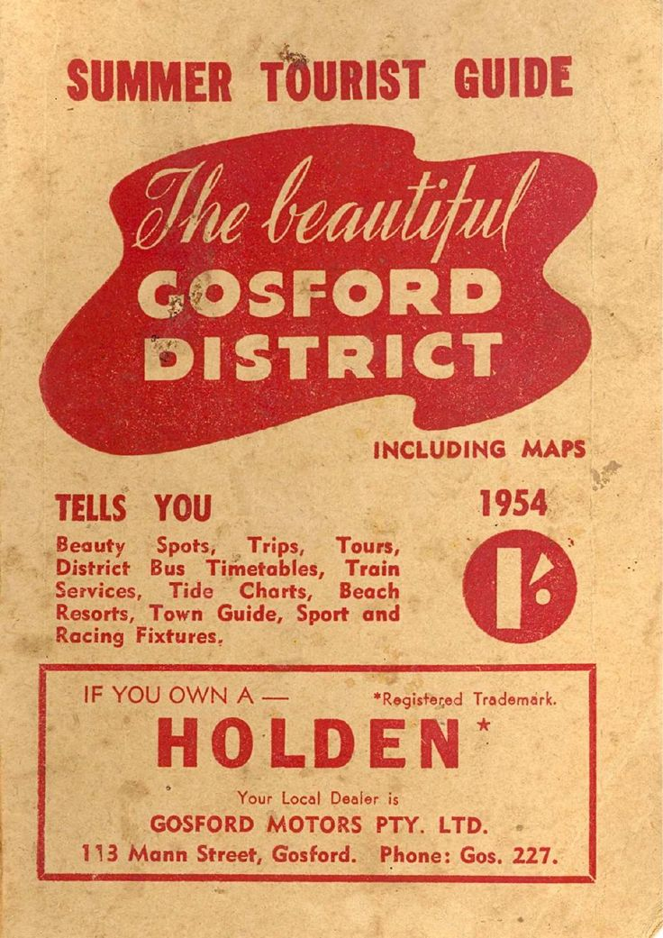Summer Tourist Guide for the beautiful Gosford District; including maps (1954).