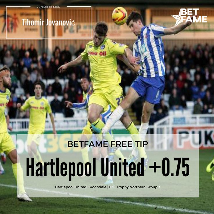 BetFame soccer tips, contributed by Joey Prevoo. . Hartlepool United - Rochdale, Hartlepool United +0.75 at odds 1.70
