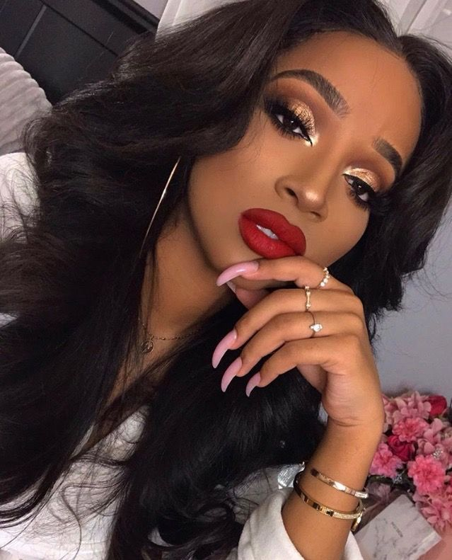 Eyeshadow And Red Lips On Black Women Weeklybeautyroutine Red