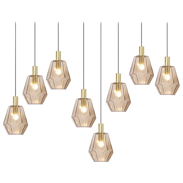 Large Quantity of Brass and Smoked Glass Pendant Lamps by Limburg Glashütte | From a unique collection of antique and modern chandeliers and pendants at https://www.1stdibs.com/furniture/lighting/chandeliers-pendant-lights/