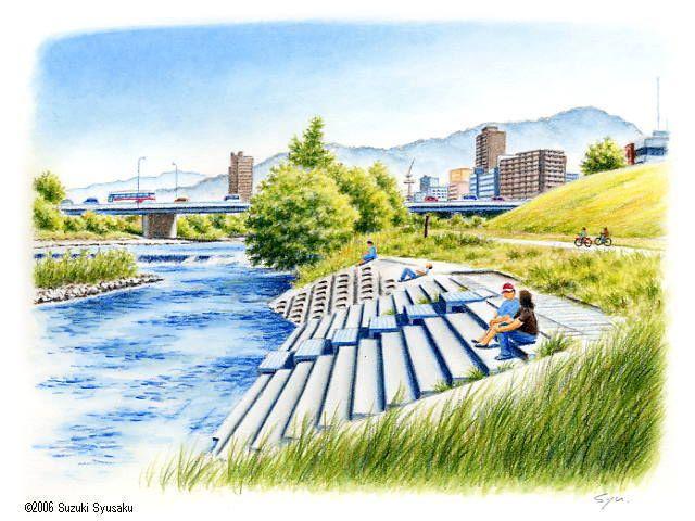 札幌・豊平川/水彩色鉛筆画イラスト