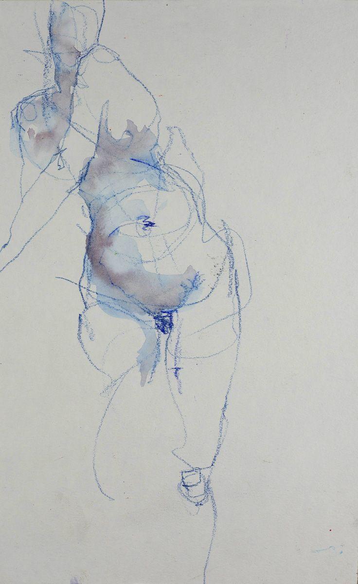 """""""El Milagro de agua"""" by Samuel Bonilla, nude female figure pencil sketched drawing."""