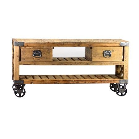 What says industrial rustic more than reclaimed wood on - Table console pliable ...