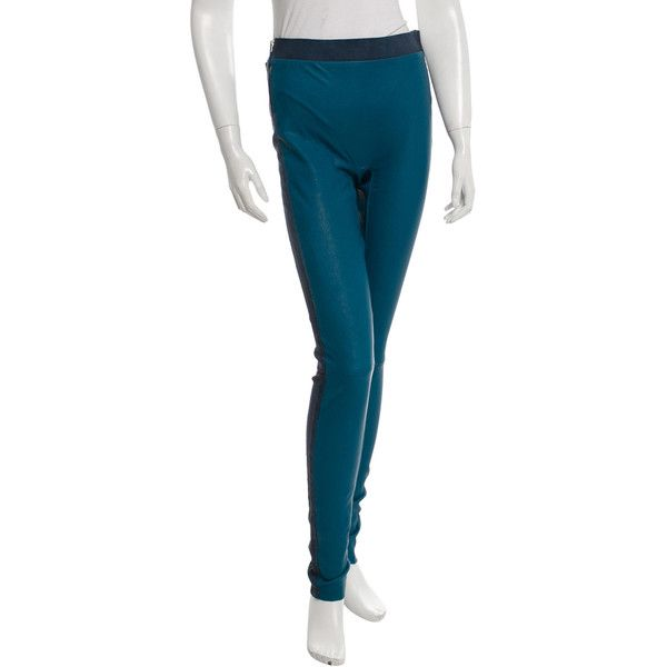 Pre-owned Les Chiffoniers Leather HIgh-Rise Leggings ($175) ❤ liked on Polyvore featuring pants, leggings, high-waisted pants, high waisted pants, high-waisted leather pants, white leather leggings and white pants