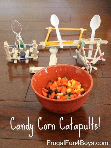 Candy Corn Catapults! (Four ways to build a catapult out of items from around the house!)